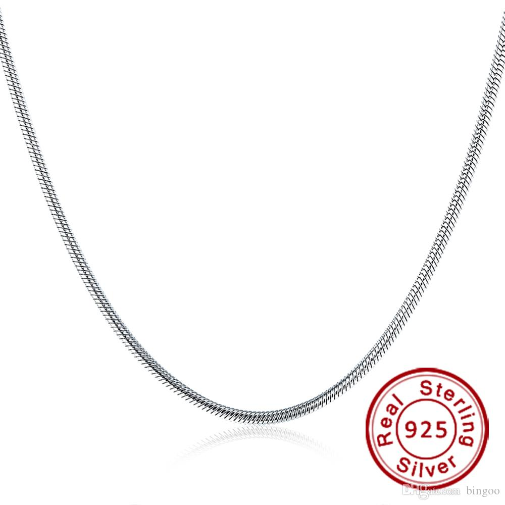 799cd7cc4a4970 Fine Jewelry 100% 925 Sterling Silver Necklace Fit Pandora Snake Chain for  Men/Women 3 mm 18