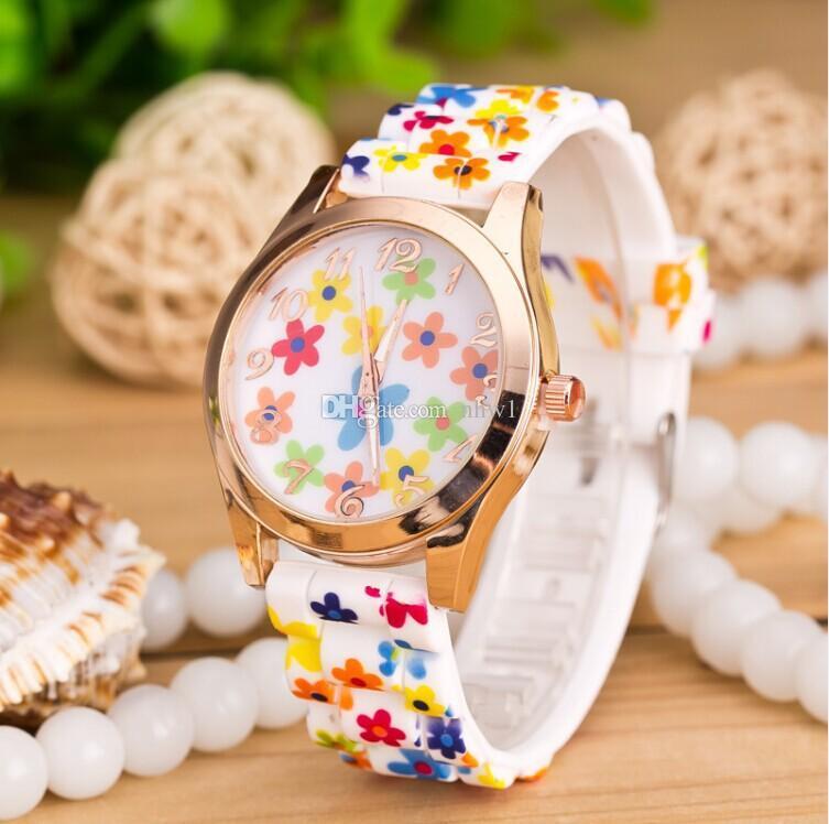 Regalo dell'orologio vigilanze modo di alta qualità di molti disegni da polso delle signore delle donne vigilanza del fiore stampato quarzo del silicone