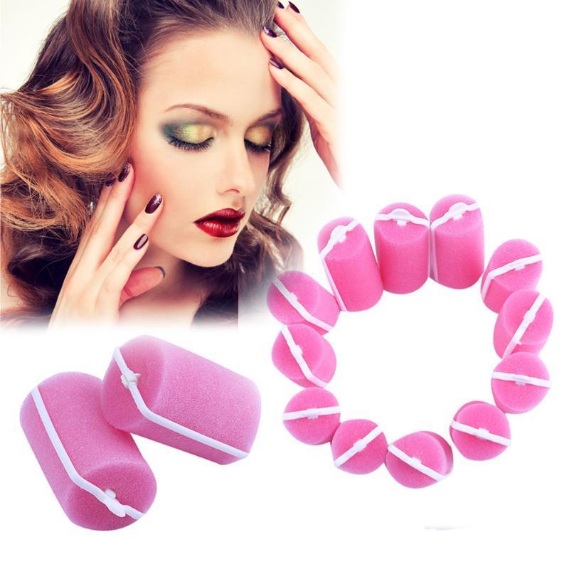 12Pcs/Lot Sponge Hair Styling Curler Roller Home DIY Big Wave Hair Curl Maker Foam Roller Natural Beauty Hair Tool