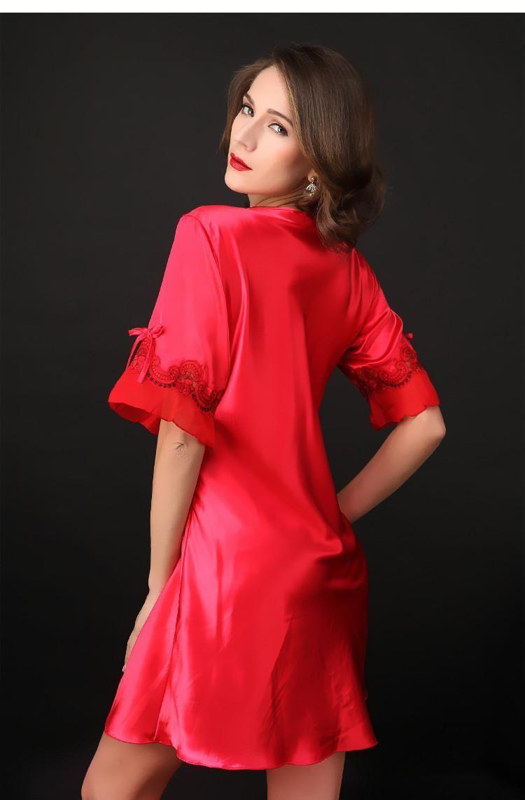 d3cb0cfed9 Wholesale- Nightgown Pijama Victoria Sexy Silk Night Dress Lace Plus ...