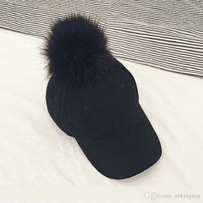 패션 가짜 모피 Pom Pom 스웨이드 야구 모자 여성 모피 공 Gorros Snapback 모자 조정 가능한 솔리드 힙합 모자 여성용