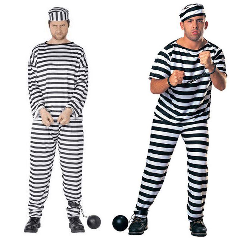 new arrival men prisoner uniform streak costume halloween carnival cosplay clothing performance fancy dress party clothes sw0328 halloween costumes
