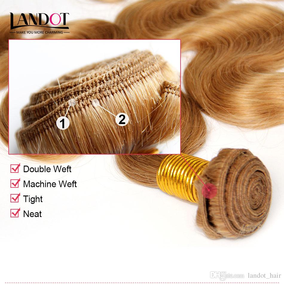 Fashion Color #27 Strawberry Honey Blonde Brazilian Peruvian Malaysian Indian Body Wave Virgin Remy Human Hair Weaves Extensions Bundles