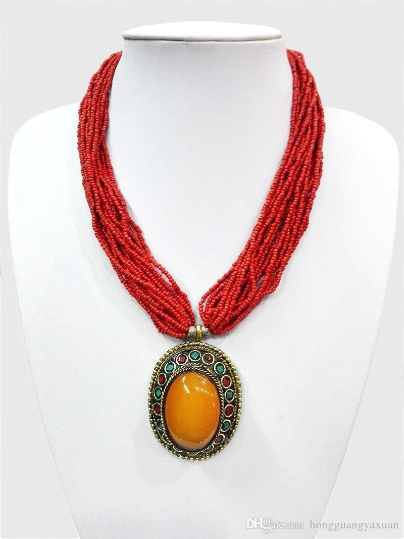 18 '' Collana con pendente multistrato etnico con perle rosse tibetani ambra tibetani oyzz-0011