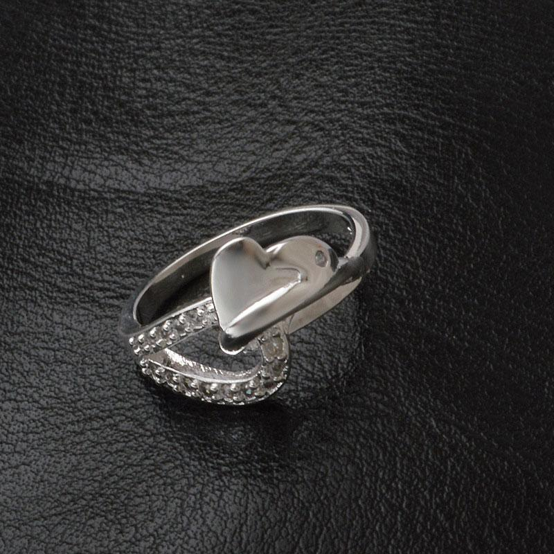 Korean Style Elegant Heart-shaped Ring Charms 925 Sterling Silver Jewelry Crystal Wedding Engagement Band Rings For Women
