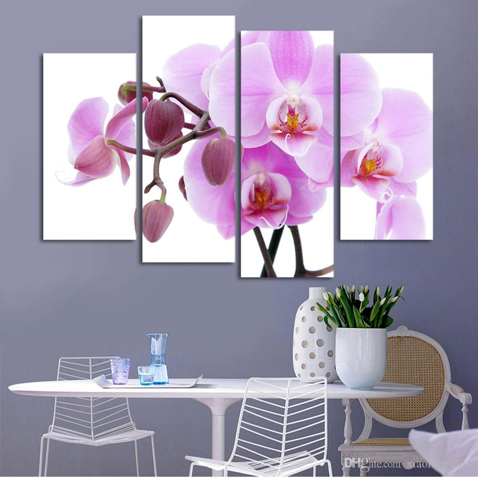 4 Piece Cheap abstract Modern Wall Painting purple pink flower Home Decorative Art Picture Paint on Canvas (No Frame)