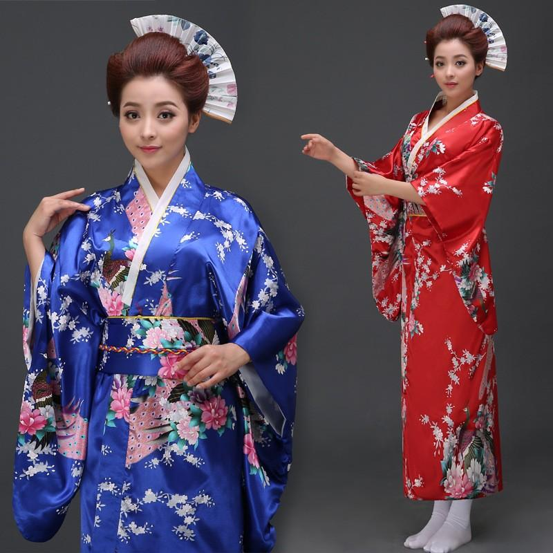 2017 Wholesale Woman Stage Costume Japanese Kimono Samurai Portrait Yukata Geisha Clothing