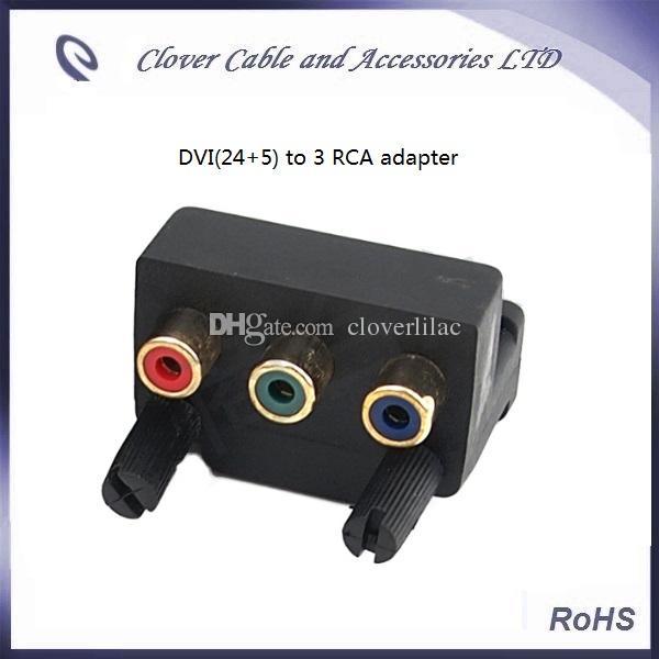 Spedizione gratuita 2 pezzi DVI 24 + 5 maschio a 3 RCA femmina componente AV angolo connettore convertitore adattatore