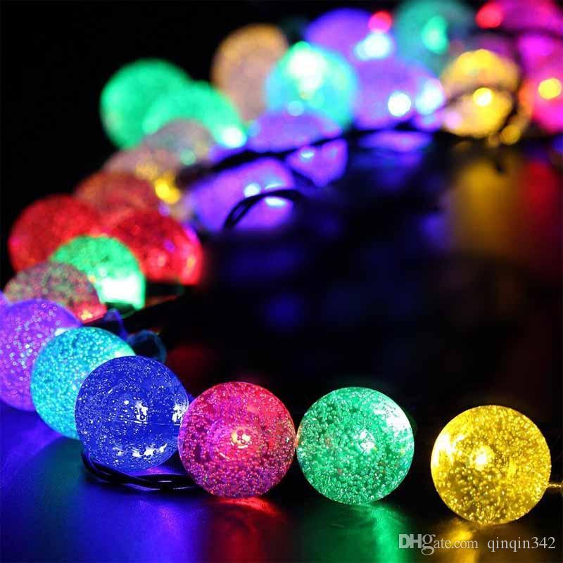 novelty solar led christmas lights outdoor 6m 30leds crystal ball string lamp pendant fairy wedding garden garland led strings led 2017 online with