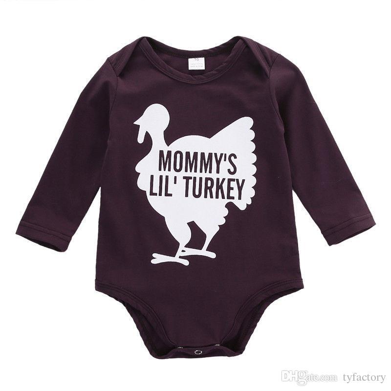 2016 di alta qualità pagliaccetto bambini appena nati Boy Girl neonato manica lunga Tuta MOMMY'S LIL 'TURCHIA divertente lettere stampate Tuta vestiti