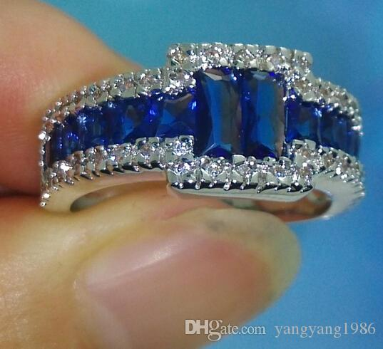 Size 9/10/11 100% Brand new Fashion Jewelry 10kt white gold filled Blue Sapphire Gem Men Wedding Ring