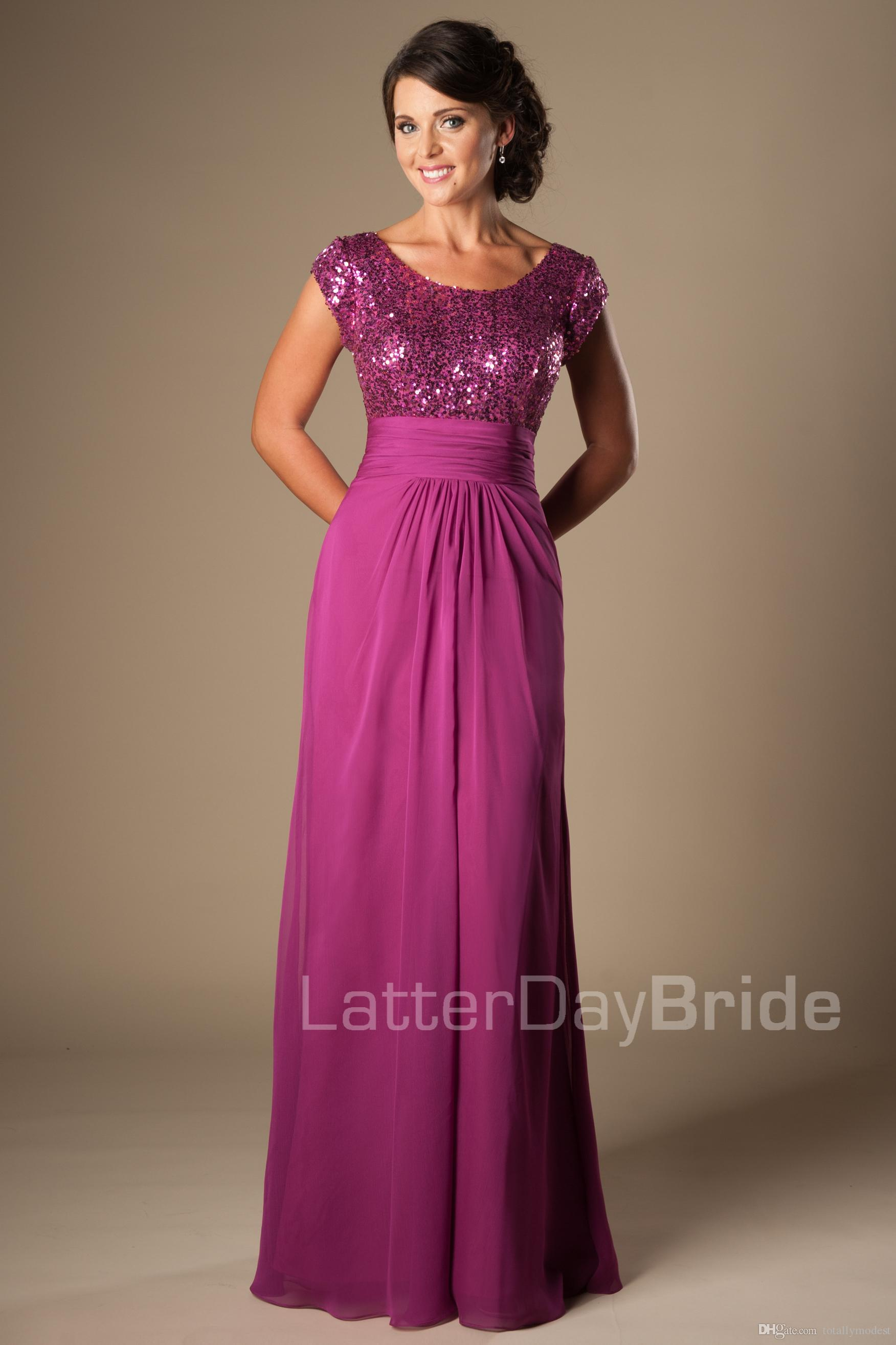 Magenta Long Modest Bridesmaid Dresses Cap Sleeves Sequins Chiffon ...