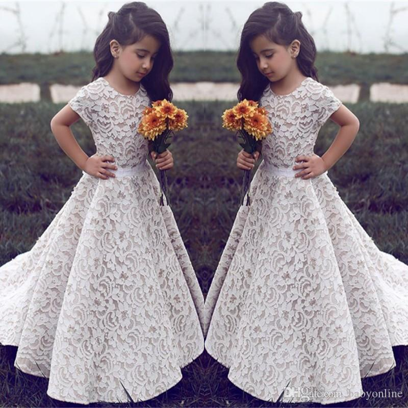 ad151b493a34 Lace Flower Girl Dresses For Wedding Vintage Jewel Short Sleeves A Line  Girls Pageant Dress Sweep Train Kids Birthday Prom Dress Formal Wear Beaded  Flower ...