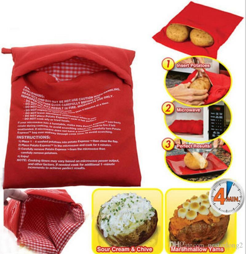 Red Washable Cooker Bag Baked Potato Bag For Microwave Oven Quick Fast Steam Pocket hot selling