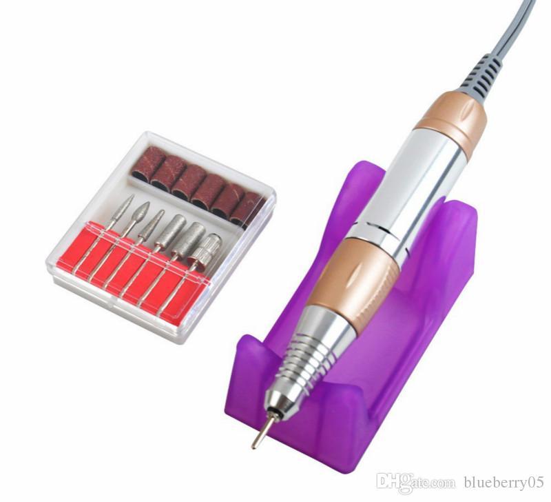 Nuevo taladro eléctrico para uñas Gold 35000RPM Nail Art Equipment Kit de manicura Broca para limas de uñas