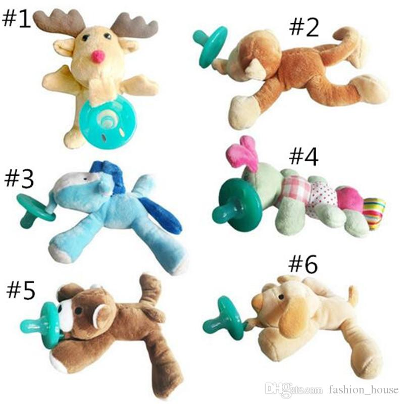 6 Style silicone animal pacifier with plush toy baby giraffe elephant nipple kids newborn toddler kids Products include pacifiers A08