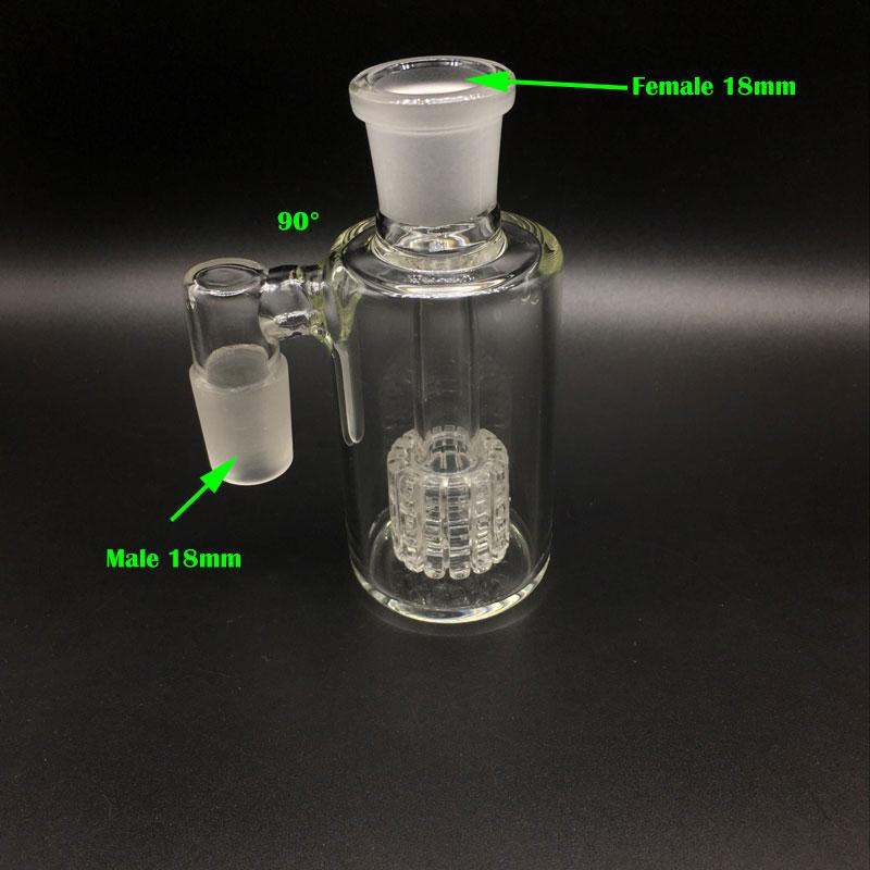DHL Free!!Glass Ash catcher for bongs 90 & 45 degrees 14.4mm 18.8mm matrix perc glass ash catcher bubbler Glass Water Pipes