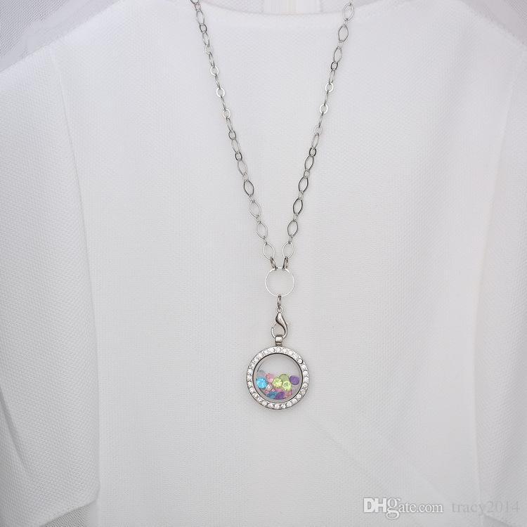 Heiße Art und Weise weiß K vergoldet schwimmende Charme runden Glas Foto Medaillon Anhänger Halskette Schmuck mit 60cm Kette