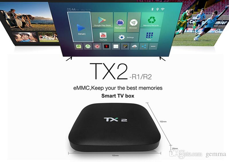 2GB+16GB TX2 R2 Android 6 0 Smart IPTV TV Box Bluetooth RK3229 WiFi 4K  Media Player frees shipping