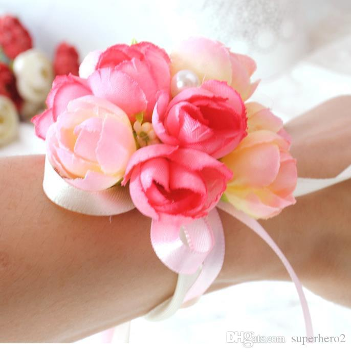 party cup chair decoration Bride wrist flowers Sister Hand Flower Groom Boutonniere best man corsage prom Wedding Flower GIFT