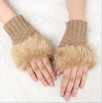 Guanti senza dita da donna in pelliccia sintetica mista da donna Guanti invernali lavorati a maglia all'uncinetto Guanti da sera più caldi 60 paia OOA7134