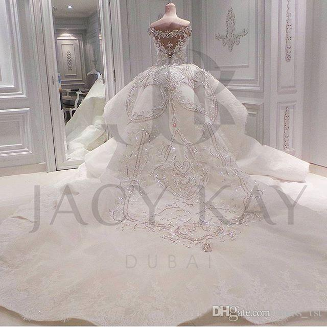 Luxury 2020 Real Image Lace Mermaid Wedding Dresses With Detachable Overskirt Dubai Arabic Portrait Sparkly Crystals Diamonds Bridal Gowns