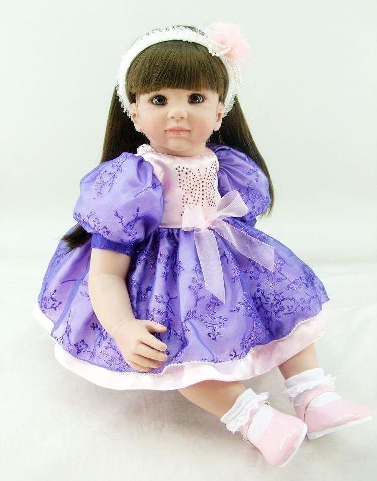 "22"" Reborn Baby Doll Long Hair Girls Realistic Soft Vinyl Toddler Dolls For Girl Gift Babies Toys"