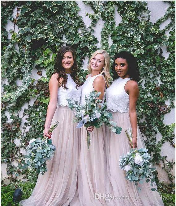 2018 New Two Tone Lace Crop Country Long Bridesmaid Dresses Hunter Green Plus Size Junior Maid of Honor Wedding Party Guest Gowns