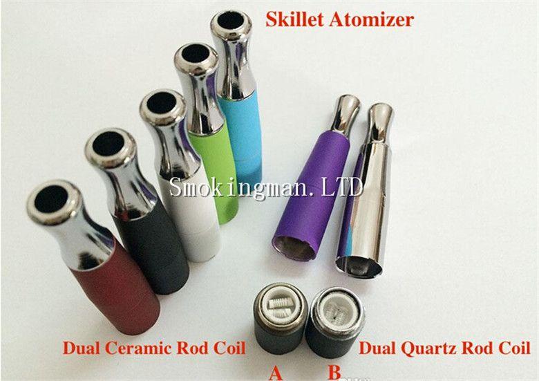 Colorful Vape Skillet Vaporizer Wax Dual Quartz Ceramic Rod coil Tank Vaporizer, Replacement Wax Skillet Atomizer Suit For EGO-C,EGO-T,EGO-w