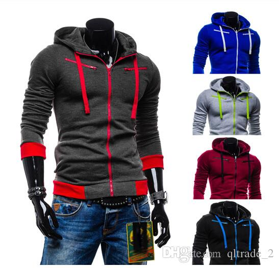 New European style hoody contrast color mens casual fleece cardigan hooded cashmere hoody