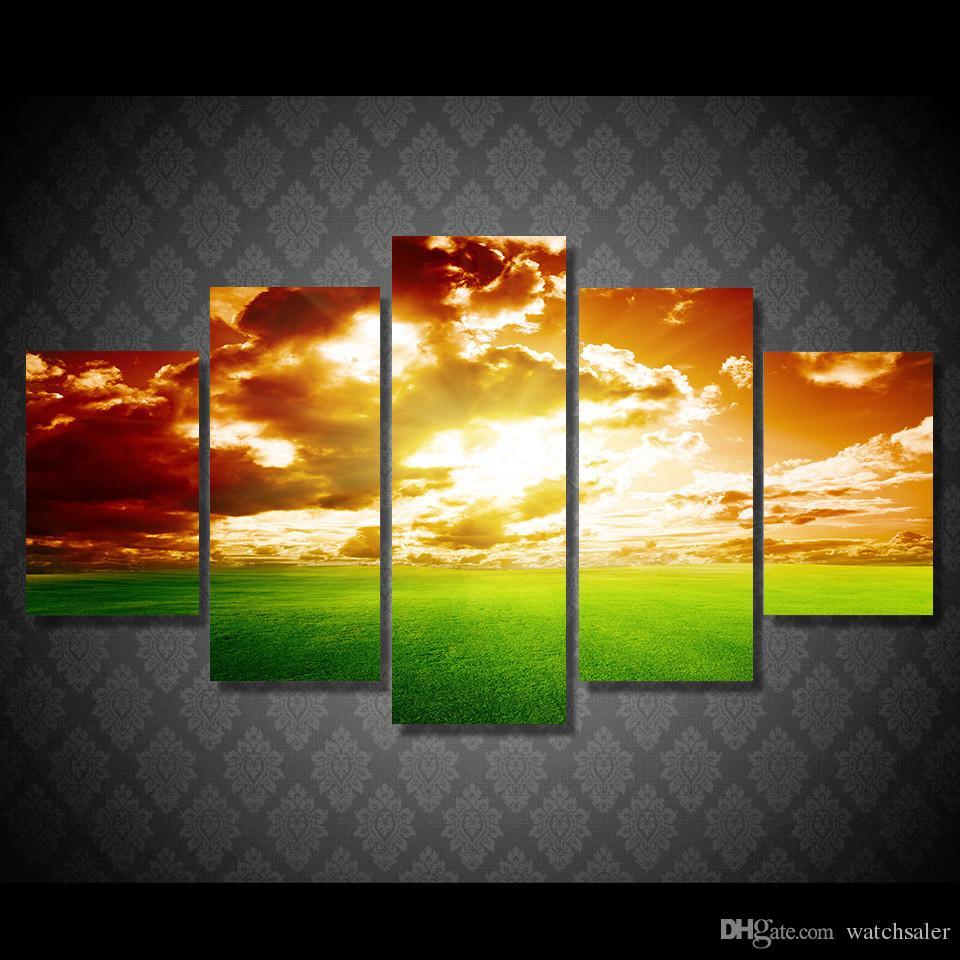 Satın Al 5 Adet Takım Hd Baskılı Sunset Doğa Manzara Gökyüzü