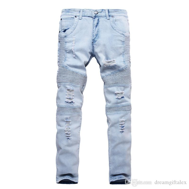 Giyim tasarımcısı pantolon slp mavi / siyah mens slim denim düz biker skinny jeans erkekler yırtık kot 28-38