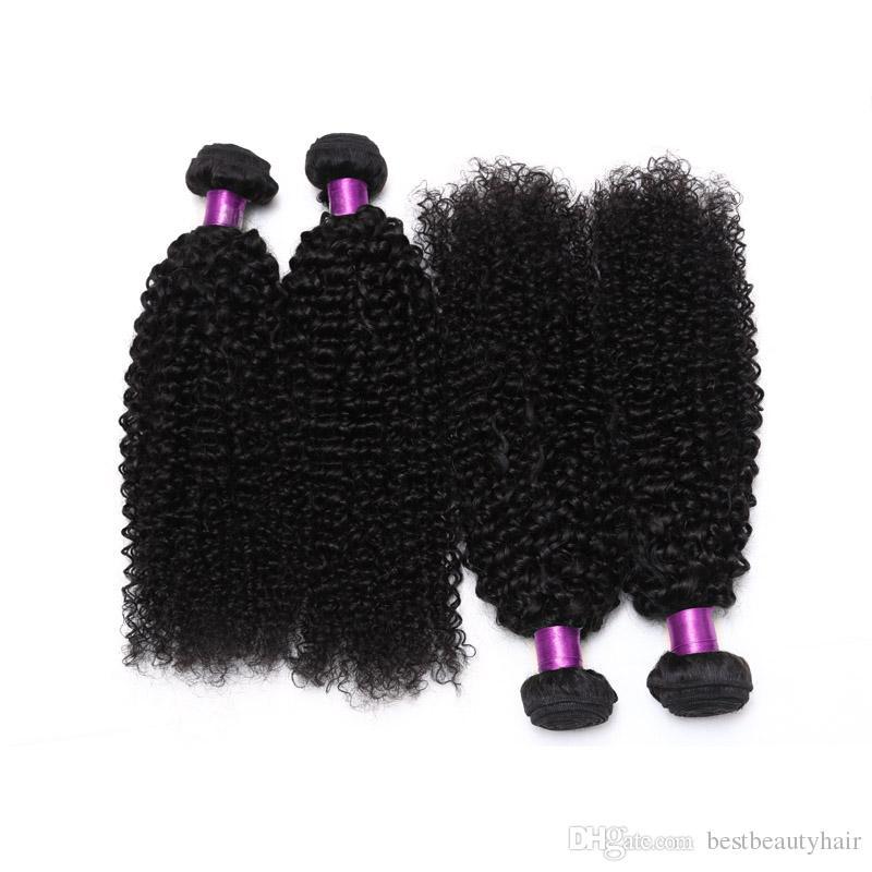 4 unids mongol rizado brasileño rizado rizado armadura del pelo Afro mongol rizado rizado extensiones de cabello humano brasileño rizado tramas de pelo rizado