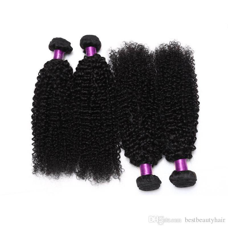 4ピースモンゴルブラジルの変態巻き毛織り束アフロモンゴル変態カーリー人間の髪の伸びのブラジルの変態巻き毛織り