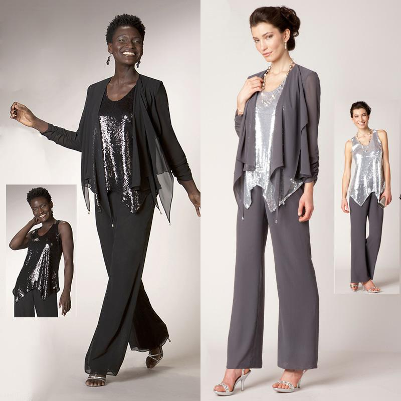 Plus Size Mother Of The Bride Pant Suits With Jacket Black ...