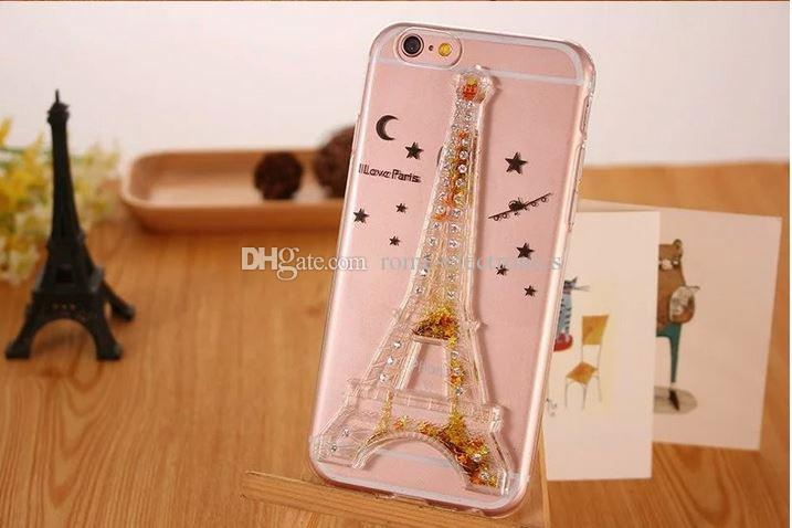 Hot Tower modle Dynamic Liquid Glitter Sand Quicksand Star Case para el iphone 6 6s / 6 Plus Crystal Clear Contraportada del teléfono Shell