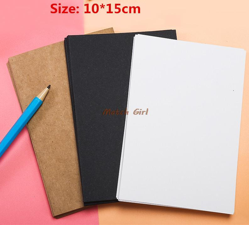 10*15cm Blank White Black Kraft Paper For Business Card Message Card ...