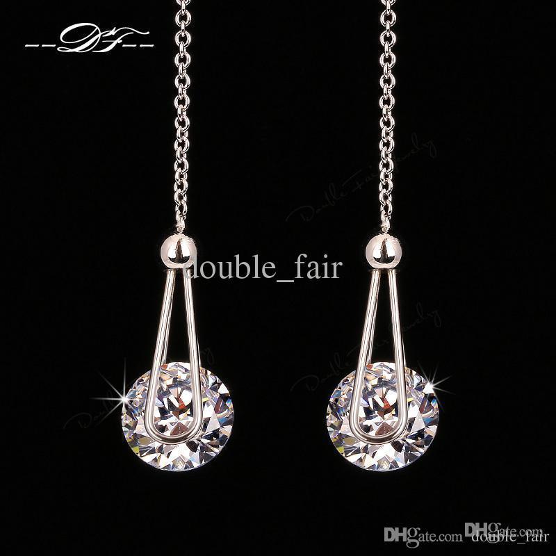 82329eb87d3b Compre Elegante 2 Carat AAA + CZ Diamond Drop Line Pendientes ...