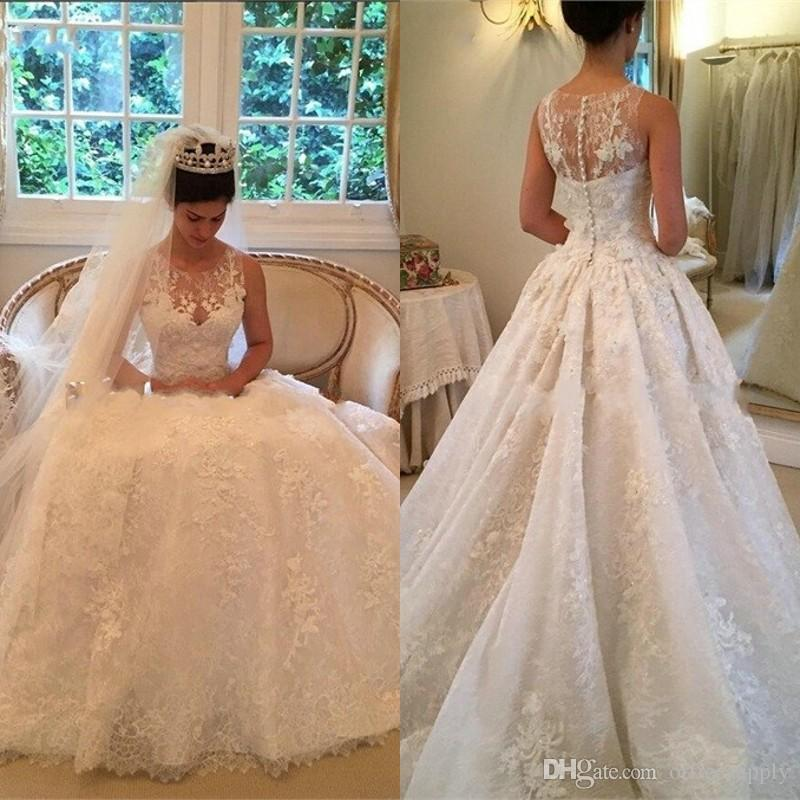 Discount Fancy Lace Wedding Dresses Vintage A Line Wedding Dress ...