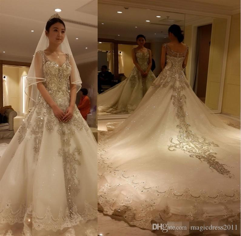Luxury Cathedral Train Cinderella 2016 Wedding Dresses ...