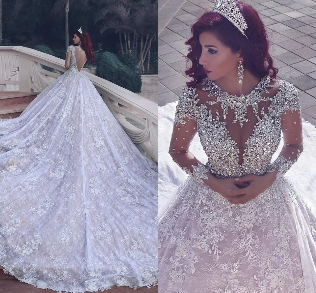 Discount gorgeous cathedral train full lace a line wedding dresses discount gorgeous cathedral train full lace a line wedding dresses sheer long sleeves open back sparkly beading 2016 african style bridal gowns cheap ombrellifo Images