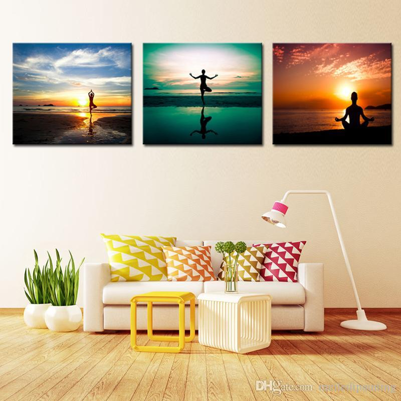 Wall Art A Person S Yoga Exercise Sunset Seascape Picture