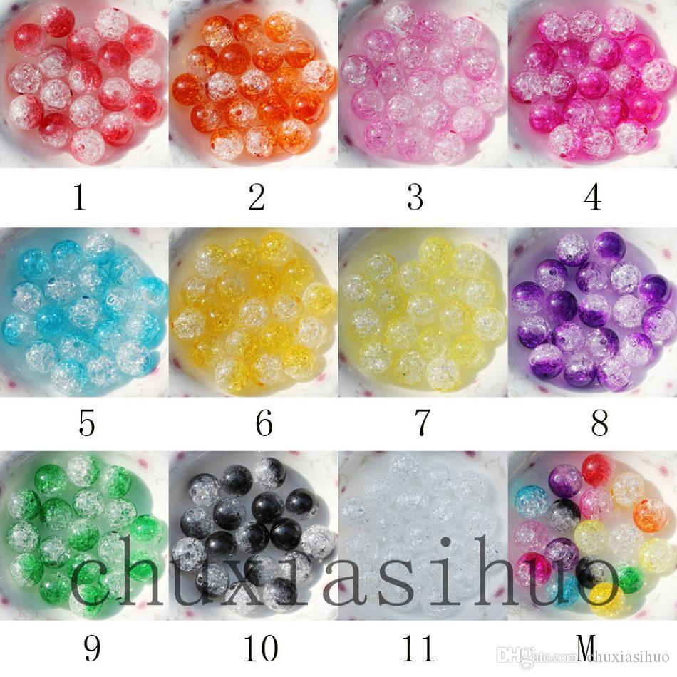285661cbddcf5 8MM Sparking Crackle Acrylic Smooth Round Beads double colors 500PCS
