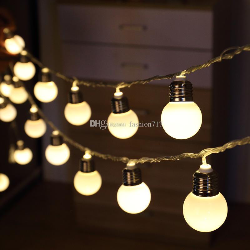 10 Led Retro Bulb Balls String Lights Warm White Christmas