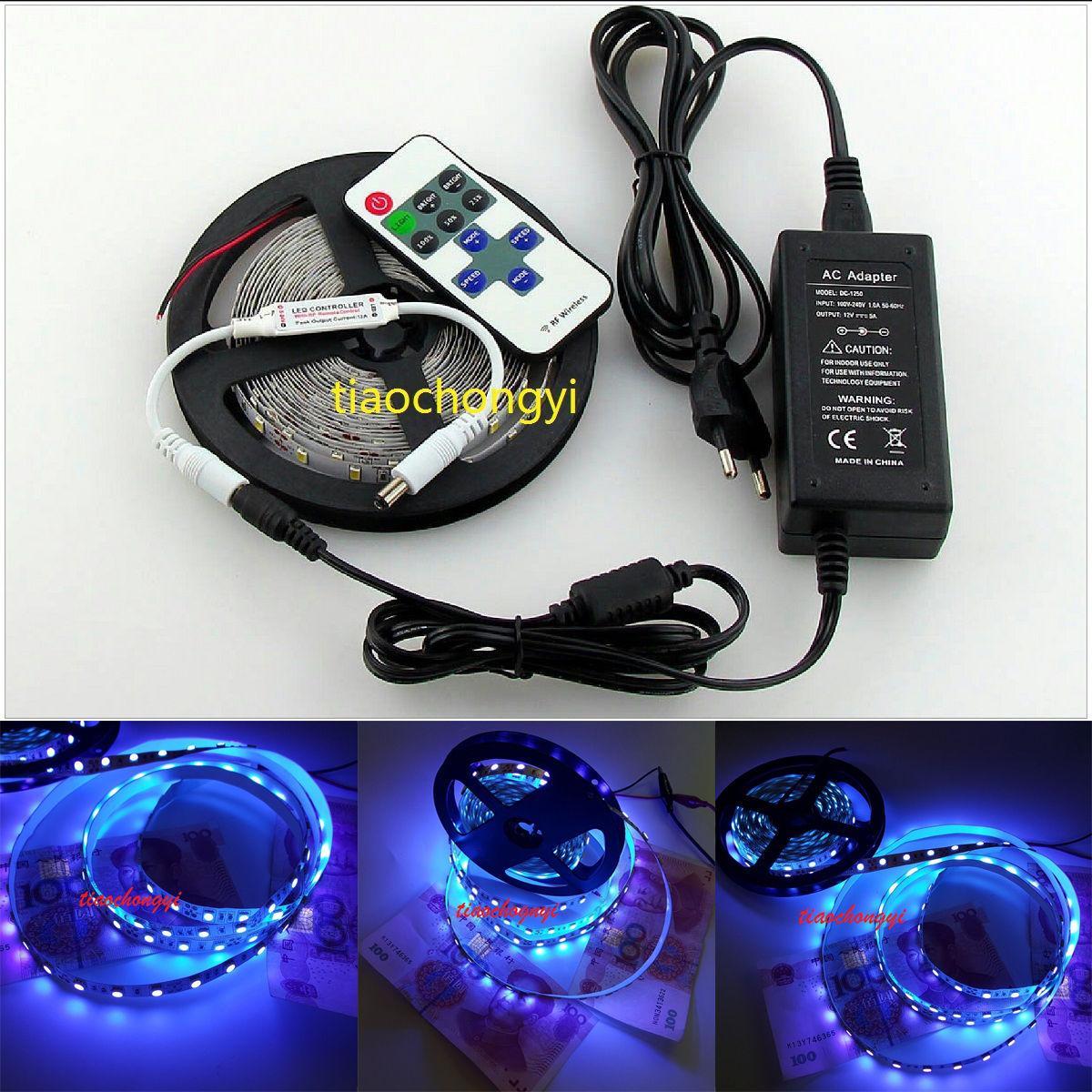 12v 5050 Smd 395 400nm Uv Led Flexible Strip Light Lamp+Rf Remote+5a ...