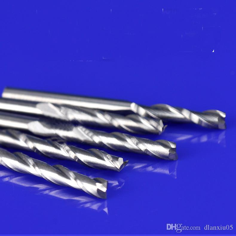 Frete Grátis 3.175 * 3.175 * 12 MM Único Flauta De Alumínio Fresa Carbide End Mill Ferramenta CNC Router Bit