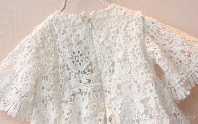 Enfants dentelle princesse robe été nouvelles filles dentelle creux Crochet robe à manches courtes enfants robe de soirée blanche vêtements pour enfants A7608
