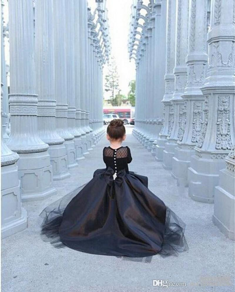 Black Hi_Lo Pageant Dresses For Girls Jewel Long Sleeve Flower Girl Dresses For Toddlers Teens Kids Formal Wear Party Communion Dresses