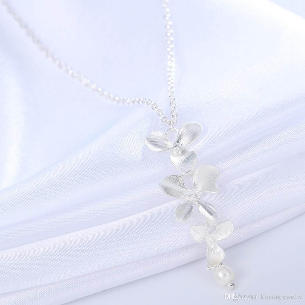 Orchid Flower Necklace Silver Collier Femme Imitation Pearl Floral Charm Pendant Women Vintage Jewelry Best Friend Gift