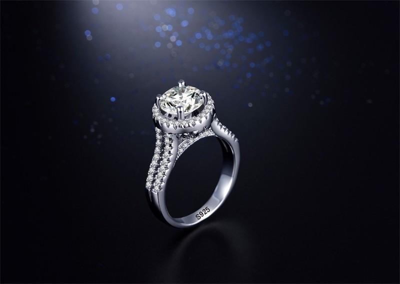 YHAMNI Mode Original Solide 925 Sterling Argent De Luxe Diamant Anneaux De Mariage Femmes De Mariage De Fiançailles Bijoux JZ090